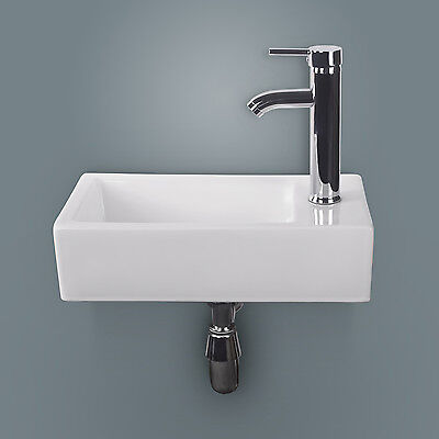 New White Rectangle Bathroom Ceramic Ship Sink Bowl Wall Mounted&Chrome Faucet