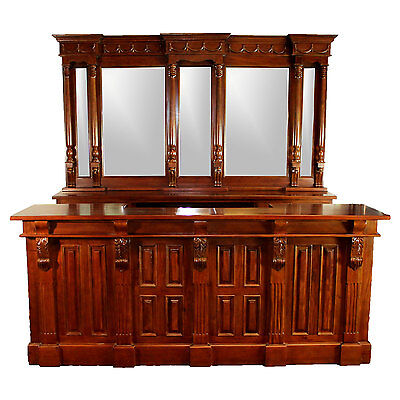 Front Bar Counter (8' Antique Replica Mahogany Victorian Front & Back Home Bar Wine Counter)