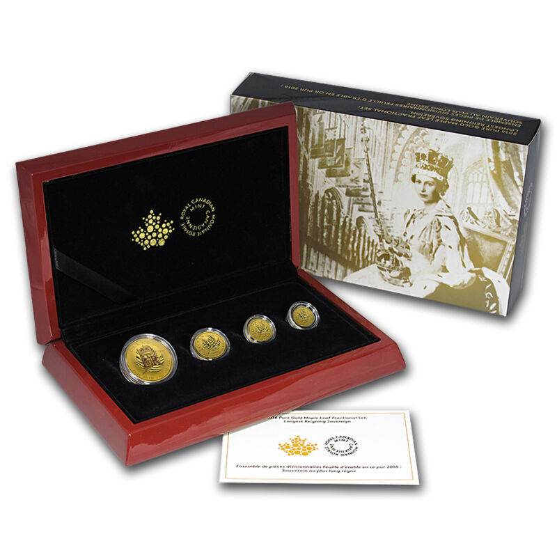 2016 Canada 4-coin Gold Fractional Maple Leaf Set (1.4 Oz) - Sku #93208