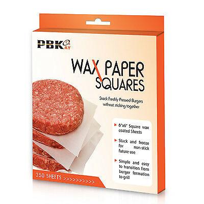 "6"" x 6"" Hamburger Patty Cheese No-Stick Deli Waxed Paper Sheets 250 Pack"