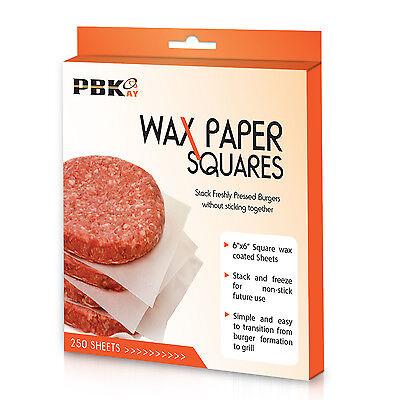 """6"""" x 6"""" Hamburger Patty Cheese No-Stick Deli Waxed Paper Sheets 250 Pack"""