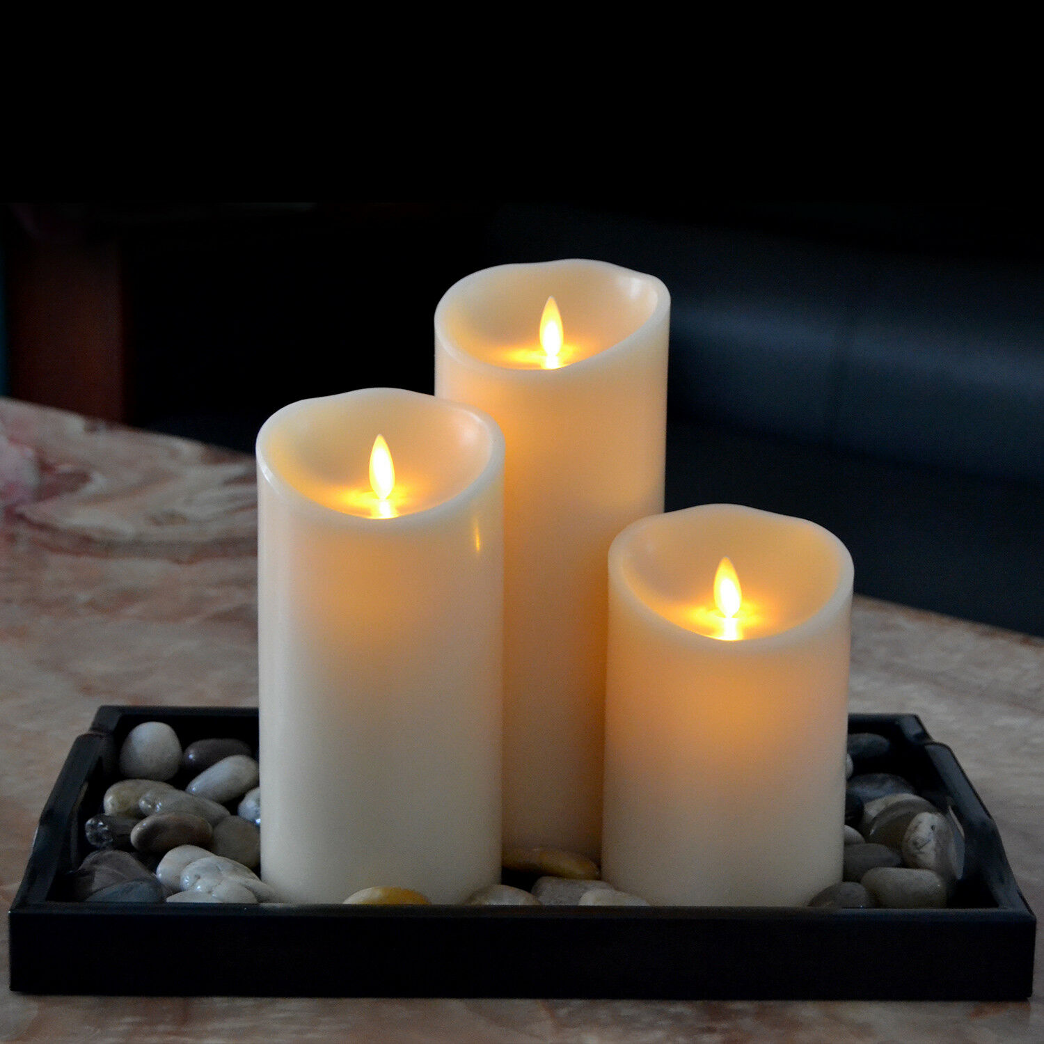 flickering flameless led pillar candles moving wick