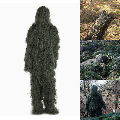 3D Ghillie Suit Forest Leaf Camouflage Camo Pants Jacket Woodland Sniper Hunting