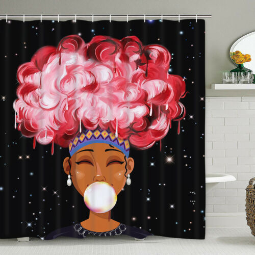 Waterproof Shower Curtain African Women for Bathroom Cover C
