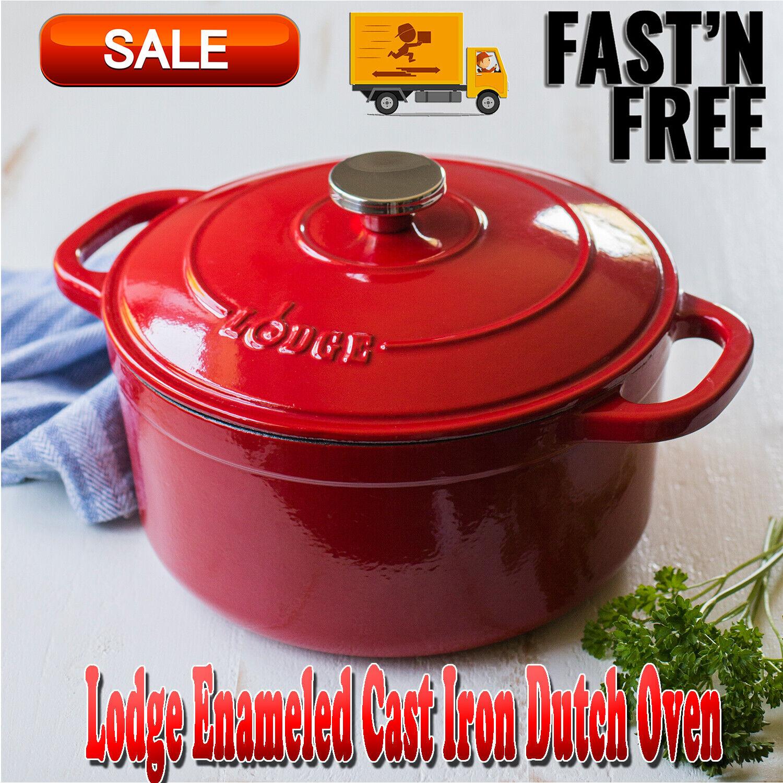 Lodge Enameled Cast Iron 5.5 Qt Dutch Oven, Pots & Pans, Cas
