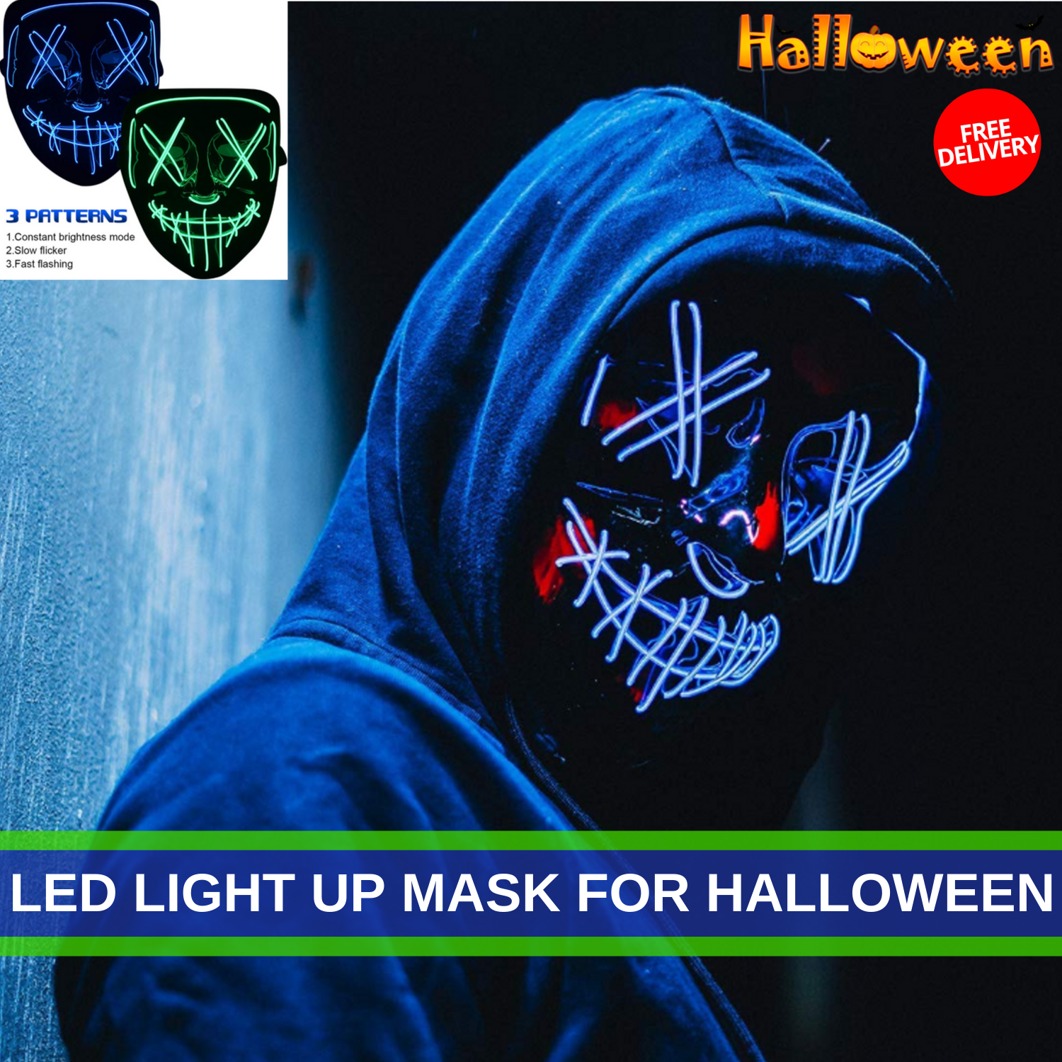 Led Light Up Mask For Halloween With 4 New Different Setting