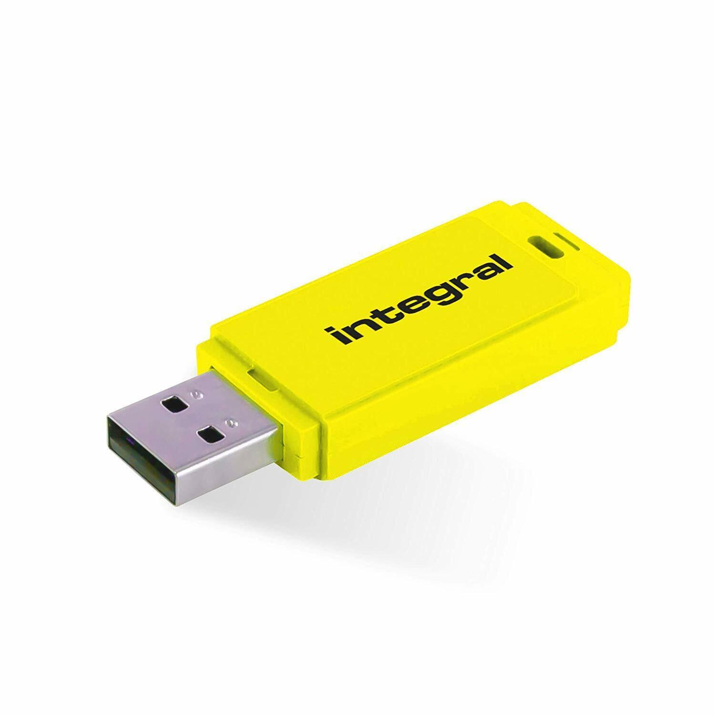 Integral NEON 128GB USB 2.0 Flash Drive - YELLOW USB Memory Stick