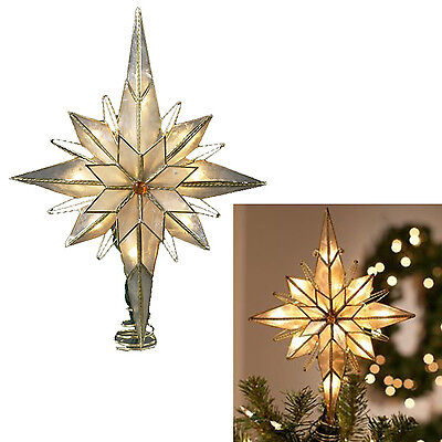 Christmas Tree Topper Star Lighted 10 Inch Gold Capiz