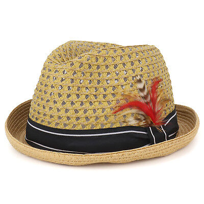 Cool Lightweight Paper Straw Fedora Hat with Feather and Ribbon - FREE SHIPPING