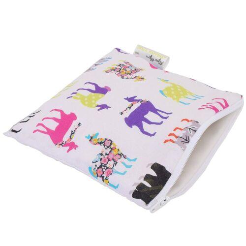 """Itzy Ritzy Reusable Snack Bag – 7"""" x 7"""" BPA-Free Snack Bag Llama Glama"""