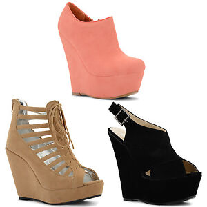 New-Ladies-High-Wedge-Heels-Shoe-Boots-Peep-Toe-Sandals-Shoes-Sizes-UK-3-8