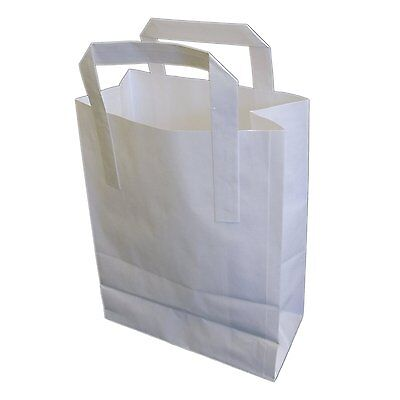 250 SMALL WHITE KRAFT PAPER CARRIER BAGS SOS 7x3.5x8.5
