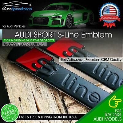 2x for Audi S-Line Gloss Black Badge Emblem 3D A3 A4 A5 A6 A7 Q5 TT Side Fender