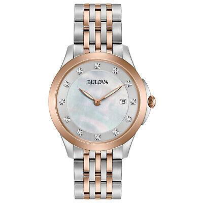 Bulova Quartz Women's Diamond Accents Rose-Tone Bracelet 36mm Watch 98P162