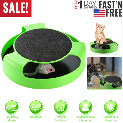 Cat Interactive Scratching Toy w/ Rotating Running Mouse Catching Plate Pad