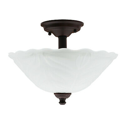 Semi-Flush Mount 2 Light Interior Ceiling Fixture Frosted Glass, -