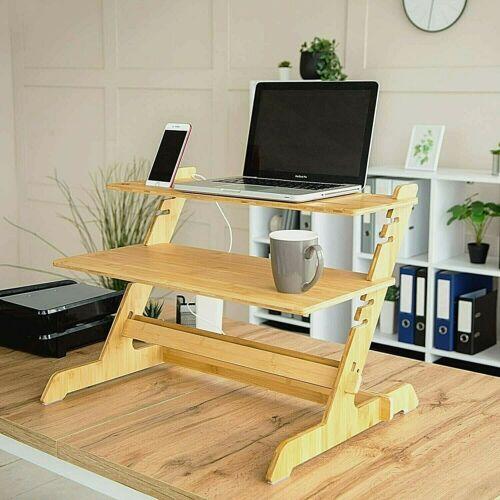 Standing Desk Converter Natural Bamboo Adjustable Sit Stand Riser Workstation