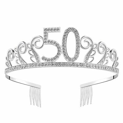 Happy Birthday Crystal Tiara Rhinestone Princess Crown Silver Diamante - Tiara Birthday
