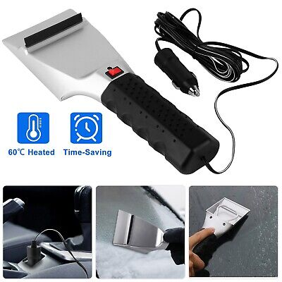 Car Electric Heated Ice Snow Scraper Window Ice Remover w/Squeegee 14FT Cable