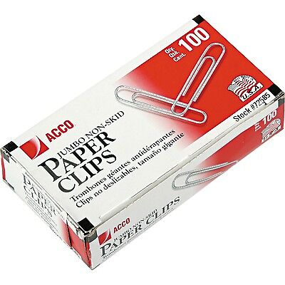 Acco Nonskid Economy Paper Clips Jumbo Size 1000ct