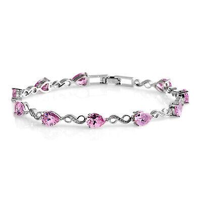 Silvertone Pink Cubic Zirconia CZ Bracelet for Women 7.25