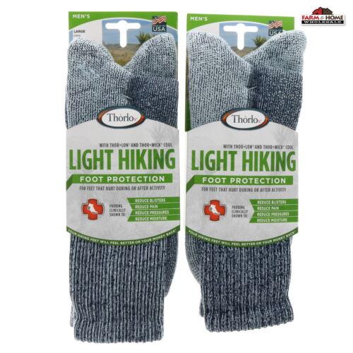 2 Thorlo Mens Light Hiking Crew Socks Large ~ NEW
