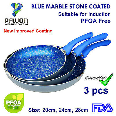 Non-Stick Frypan Set✪Blue Stone Coated✪Induction✪Cookware✪Frying Pan✪Ceramic