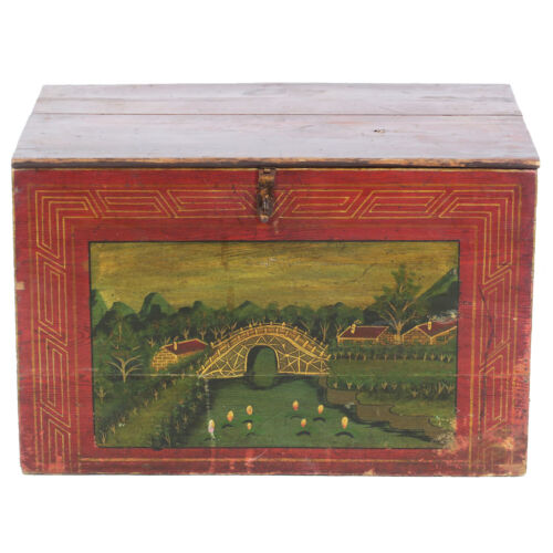 """Antique Chinese 31"""" wide Red Trunk w Beautiful Hand Painted Scenes"""