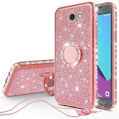 Samsung Galaxy J3 Emerge,J3 Prime,Amp Prime 2,J3 Luna Pro Case Glitter Ringstand