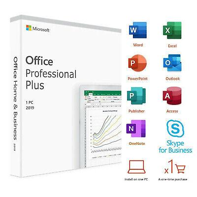 Microsoft Office Professional Plus 2019 DVD Windows 1 PC Lifetime License Key