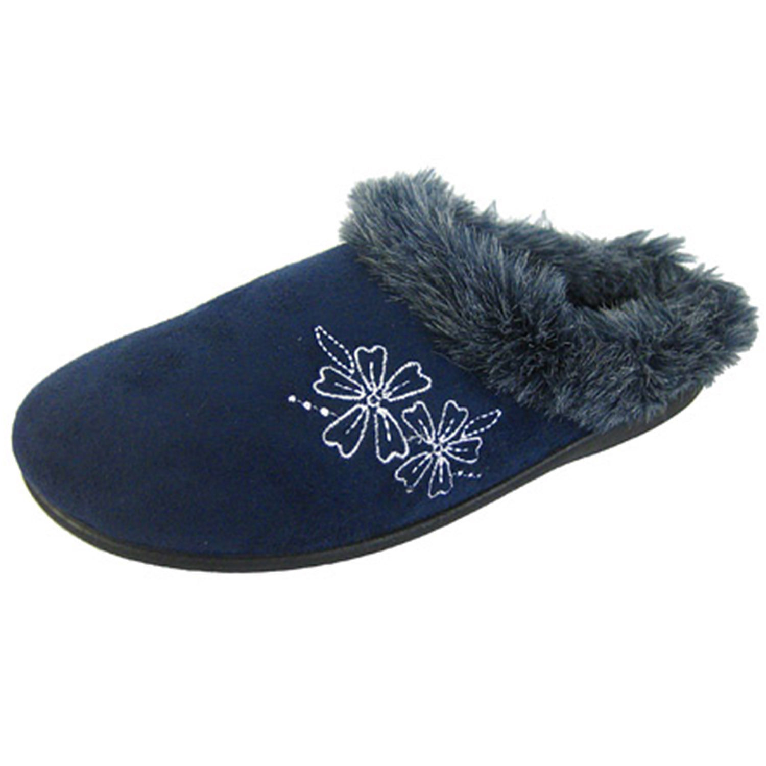 Mens Boot Slippers Navy Blue Patterned Warm Lined Slip On Coolers