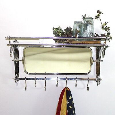 Train Rack with Mirror Luggage Coat Hanger Wall Mounted 7 Hooks Shelf Hall Bath