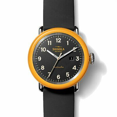 Shinola 43MM Detrola No. 2 Pencil Yellow Orange Case Quartz Watch S0120161966