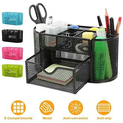 Metal Mesh Pencil Holders Desk Organizer With 9 Compartment Pen Holder Storage