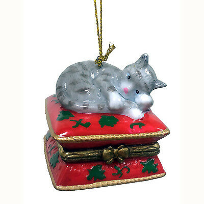 GrayTabby Cat Surprise Ornament Christmas Decoration Trinket Box New