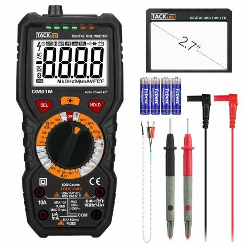 Tacklife DM01M Digital Multimeter TRMS 6000 Counts Manual Ranging, Volt Amp Ohm