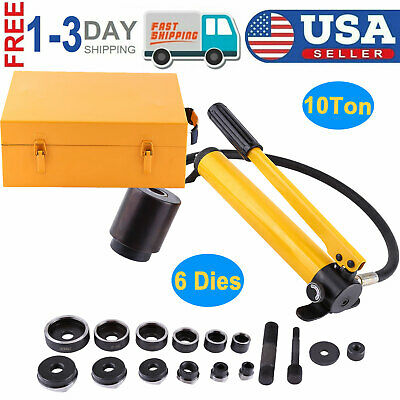 10 Ton Hydraulic Knockout Punch Driver Kit 6 Dies 22 To 60mm Hole Punch Tool New