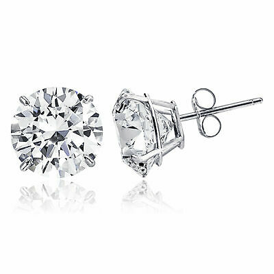 14K Solid White Gold Round Solitaire Cut Cubic Zirconia Stud Earrings Size -