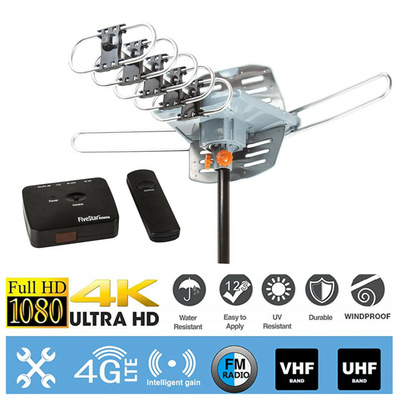 150mile 4K 1080P Outdoor Amplified HDTV TV Antenna Digital UHF VHF 360°Rotation