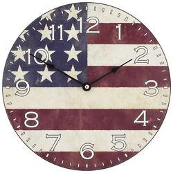 404-2631F La Crosse Clock Co. 12 Round Wood (MDF) Flag Analog Wall Clock