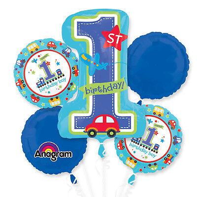Folienballon Bouquet 1. Geburtstag Junge Blau 5 Folienballons Kindergeburtstag