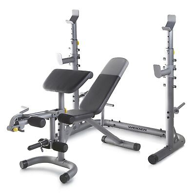 Weider Olympic Adjustable Workout Weight Bench with Squat Ra