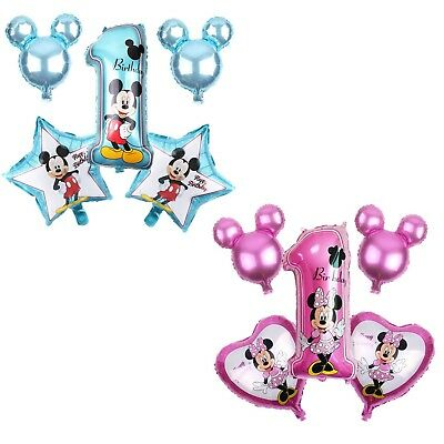 Disney Mickey Minnie Mouse Happy 1st Birthday Foil Balloons Decoration Party 5pc ()
