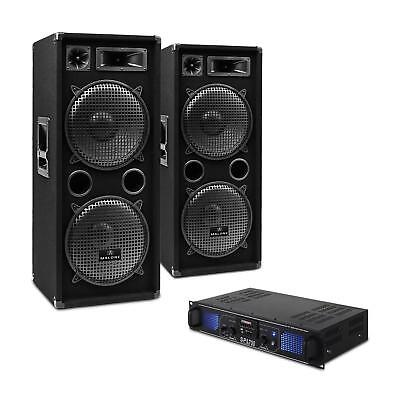 DJ PA Set Party Musik Anlage Paar Lautsprecher Verstärker Mikrofon System 2000W