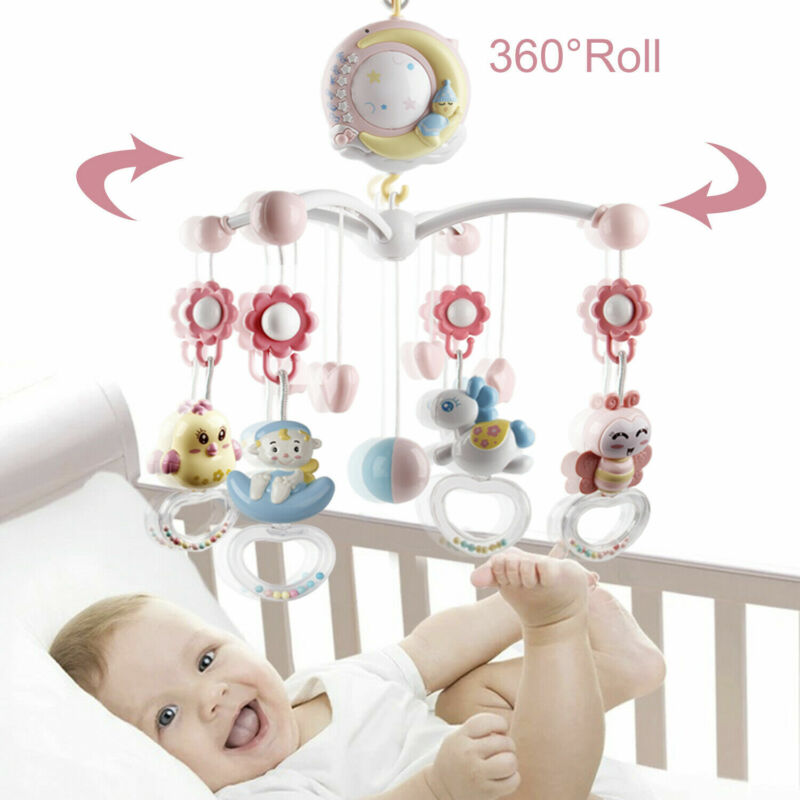 Night Light Musical Bed Bell Baby Crib Mobile Kid Remote Control Spinning Rattle