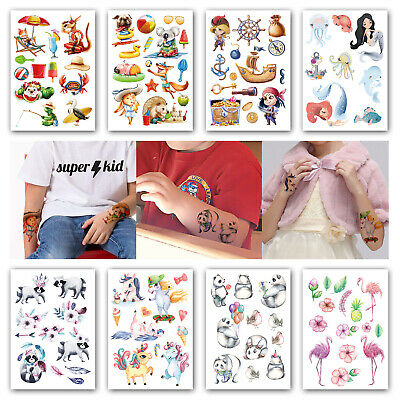 Temporary Tatoos For Kids (8 Sheets Temporary Tattoos for Kids 3d Cartoon Flash Tattoos Body Art Fake)