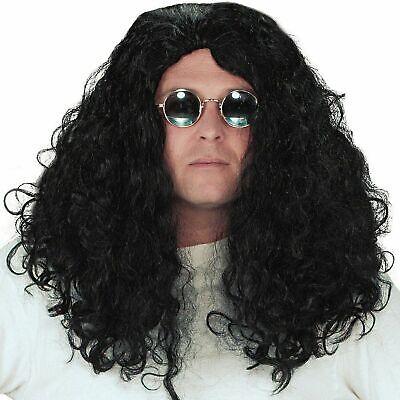 Long Black Rock Star Wig Mens 60s 70s 80s Kiss Ozzie Hippie Fancy Dress Hair NEW