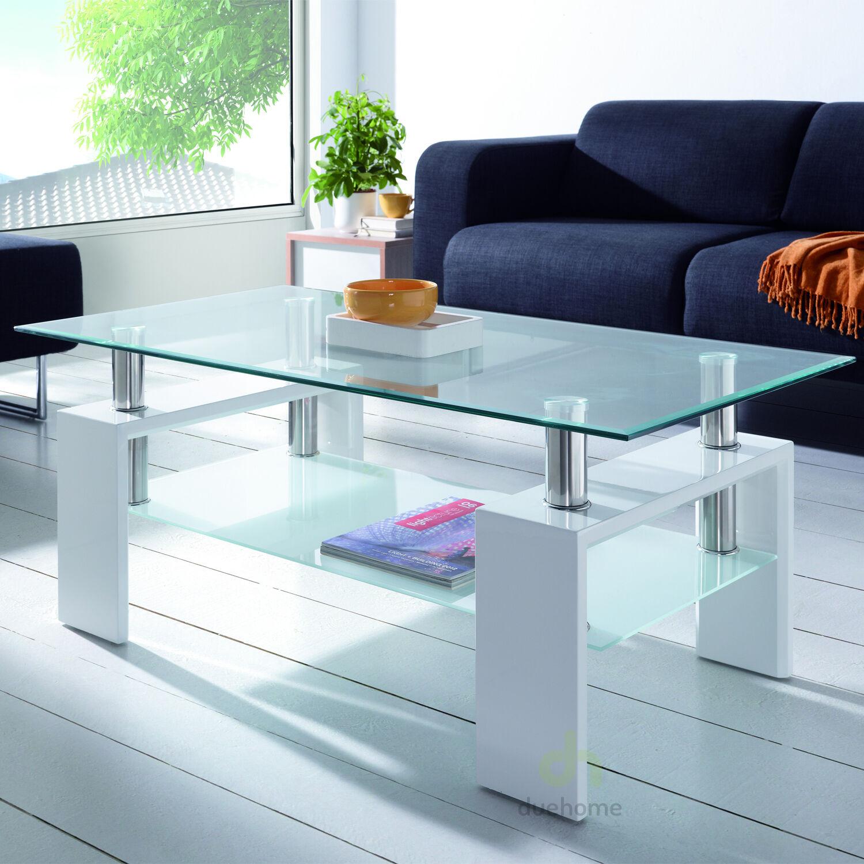 Mesa de centro cristal y lacada en blanco brillo mesas for Mesas de salon de cristal