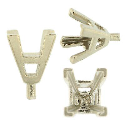 14K White Gold Radiant Basket Setting Mounting 4 Prong V-End Peg Head 0.12-2.5ct