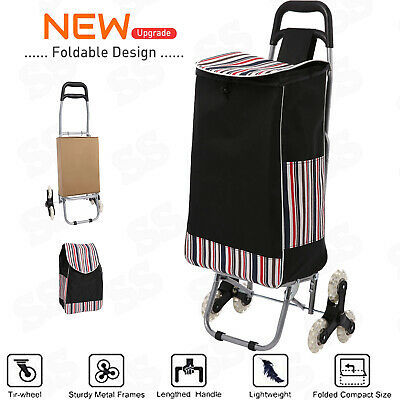 Stair Climbing Cart 3 Wheel Folding Shopping Laundry Climber Rolling Trolley Bag